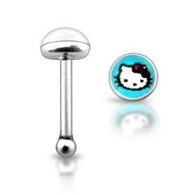 Stříbrný piercing do nosu - kočička Hello Kitty modrá