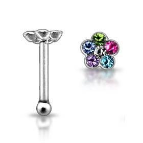 Stříbrný piercing do nosu - kytička s kamínky