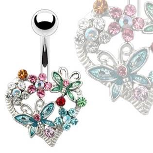 Piercing do pupíku - srdce zdobené motýlky