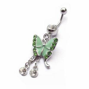 Visací piercing do pupíku - zelený motýl
