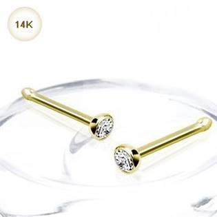 Zlatý piercing do nosu - 2 mm zirkon, Au 585/1000 - ZL01175