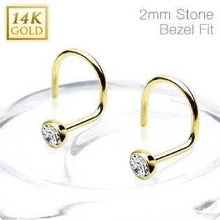 Zlatý piercing do nosu - 2 mm zirkon, Au 585/1000 - ZL01176