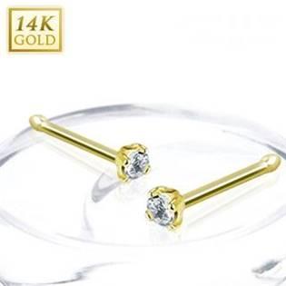 Zlatý piercing do nosu - 2 mm zirkon, Au 585/1000 - ZL01173