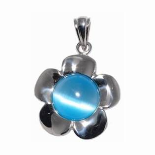 Ocelový přívěšek - kytička s modrým kamenem