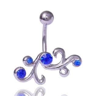 Piercing do pupíku s modrými kamínky