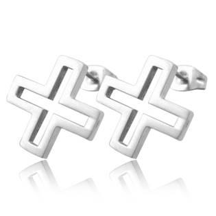 Ocelové náušnice - křížky