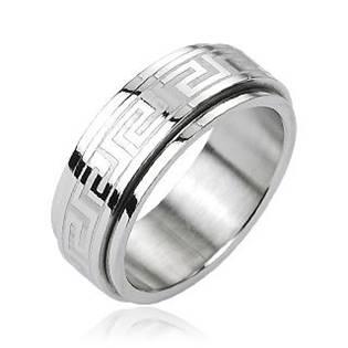 Ocelový rotační antistresový prsten s řeckým motivem