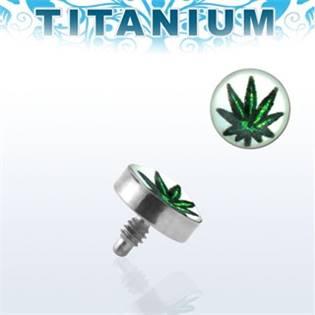 Microdermal - ozdobná část, list marihuany