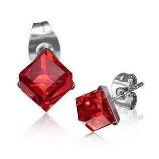 Ocelové náušnice - kostky červené