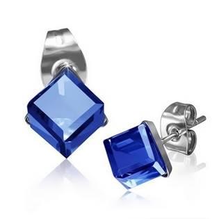 Ocelové náušnice - kostky tmavě modré