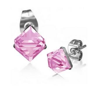 Ocelové náušnice - kostky růžové