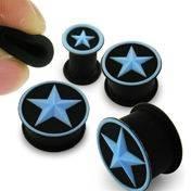 Silikonový plug černý - modrá hvězda