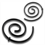 Roztahovák do ucha - spirála - černá ocel
