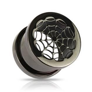 Plug do ucha černý - pavučina - PL01100-10