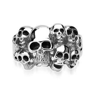 Ocelový prsten s lebkami
