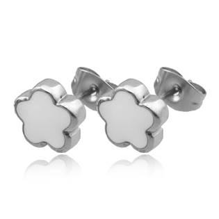Ocelové náušnice - kytičky bílé