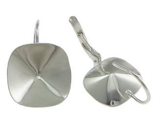 Stříbrné náušnicové zapínání pro svarovski čtvereček 4470 10mm,  Ag 925/1000