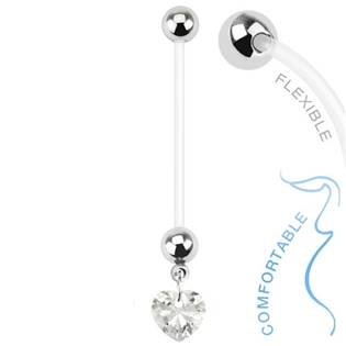 Těhotenský piercing do pupíku - srdíčko