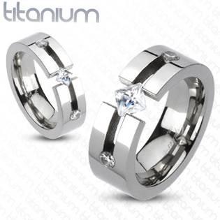 TT1008 Pánský snubní prsten titan - velikost 60 - TT1008-60
