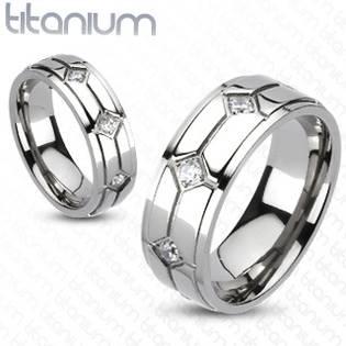 TT1014 Pánský snubní prsten titan - velikost 60 - TT1014-60