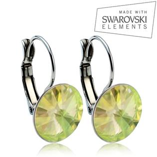 Ocelové náušnice s krystaly Swarovski® 12 mm, LUMINOUS GREEN