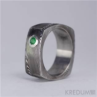 Kovaný prsten damasteel smaragd - velikost 50 - KS1021-SM-50