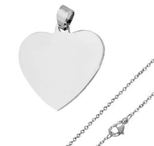 Ocelový přívěšek srdce + řetízek