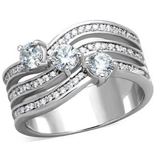 Trojitý ocelový prsten s  čirými zirkony