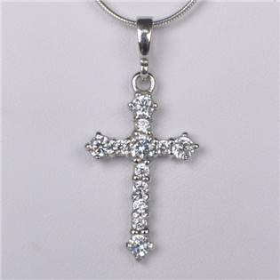 Stříbrný přívěšek kříž posázený zirkony - ZB919480