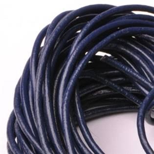 Kožená šňůrka kulatá fialově modrá, tl. 2 mm