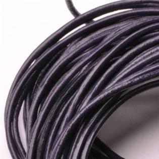 Kožená šňůrka kulatá tmavě fialová, tl. 2 mm