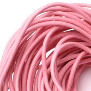 Kožená šňůrka kulatá růžová, tl. 2 mm