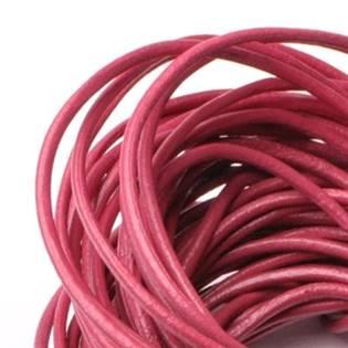 Kožená šňůrka kulatá ostružinově růžová, tl. 2 mm