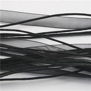 Černá šňůrka na krk z organzy, délka 45 cm