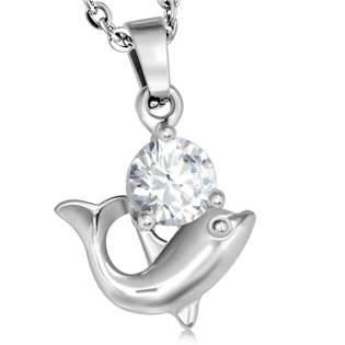 Ocelový přívěšek - delfín se zirkonem