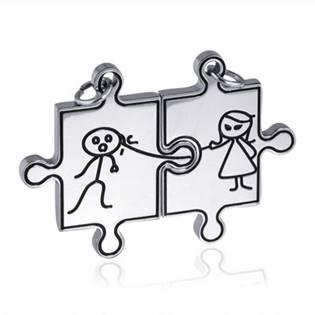 Partnerské přívěšky chirurgická ocel puzzle - 2 kusy - OPP1292