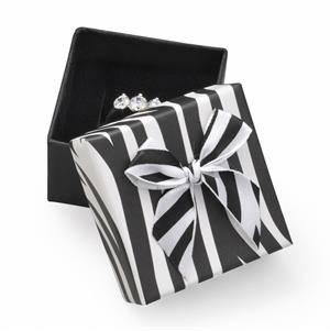 Dárková krabička na prsten zebrovaná s mašlí