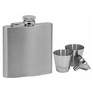 Ocelová kapesní lahev - placatka 180ml + 2 kalíšky 30ml a trychtýřek