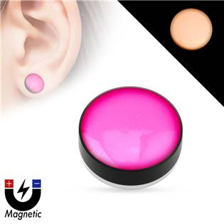 Piercing - magnetický plug do ucha, růžový