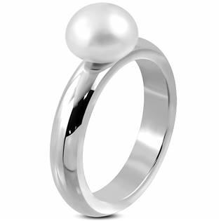 Ocelový prsten s perličkou