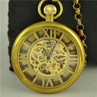 Retro mosazné kapesní hodinky - cibule - KH0023