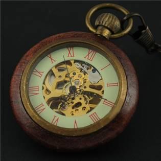 Retro dřevěné kapesní hodinky - cibule - KH0018