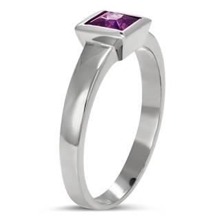 Ocelový prsten s fialovým zirkonem - velikost 59 - OPR1620-59