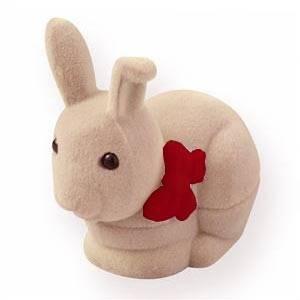Semišová dárková krabička - zajíček béžový - červená mašle