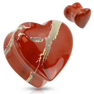 Plug do ucha srdce - červený nefrit - jadeit