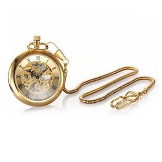 Retro zlacené kapesní hodinky - cibule - KH0026
