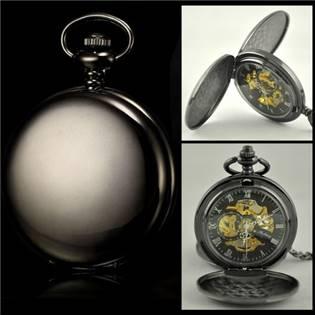 Mechanické kapesní hodinky otevírací černé - cibule - KH0028