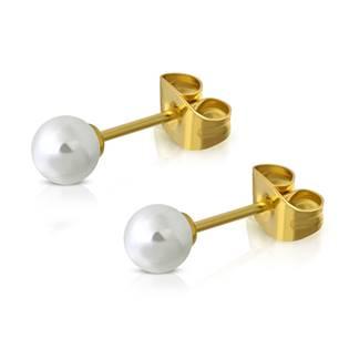 Ocelové náušnice perličky bílé, 3 mm