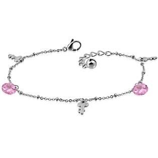 Řetízek na nohu s klíčky a růžovými kameny
