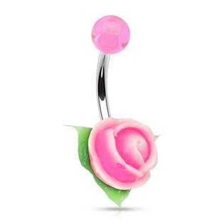 Piercing do pupíku silikonová růžička, růžová